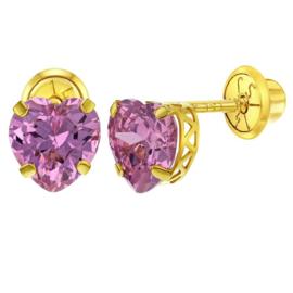 Gouden kinderoorbellen: Roze Hartje met schroefsluiting