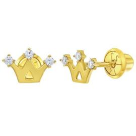 Gouden kinderoorbellen: Kroontjes met schroefsluiting