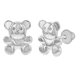 Zilveren kinderoorbellen: beertjes met schroefsluiting