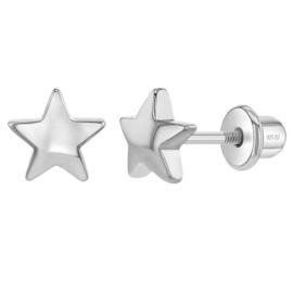 Zilveren kinderoorbellen: Sterretje met schroefsluiting