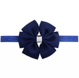 Haarbandje met strik blauw
