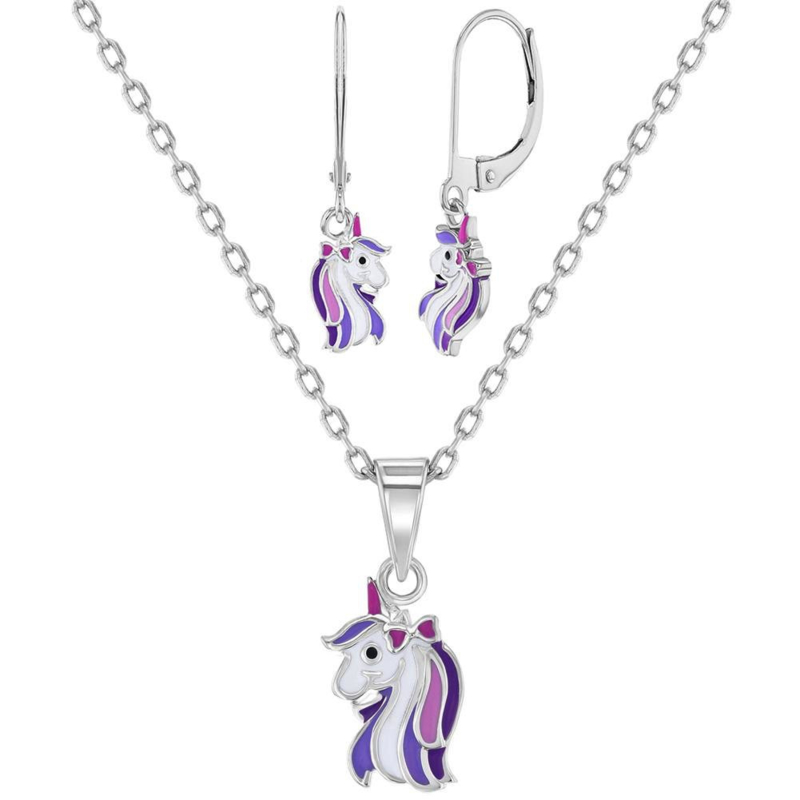 Zilveren set met Eenhoorns/Unicorns