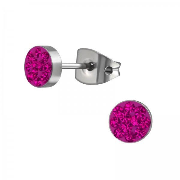 Titanium kinderoorbellen: Knopje pink (5mm)