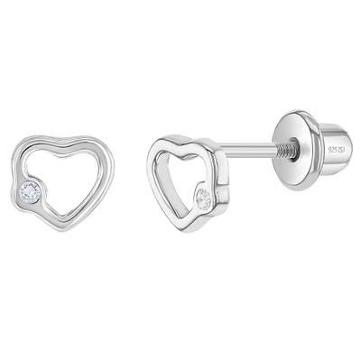 Zilveren kinderoorbellen: Hartjes met schroefsluiting