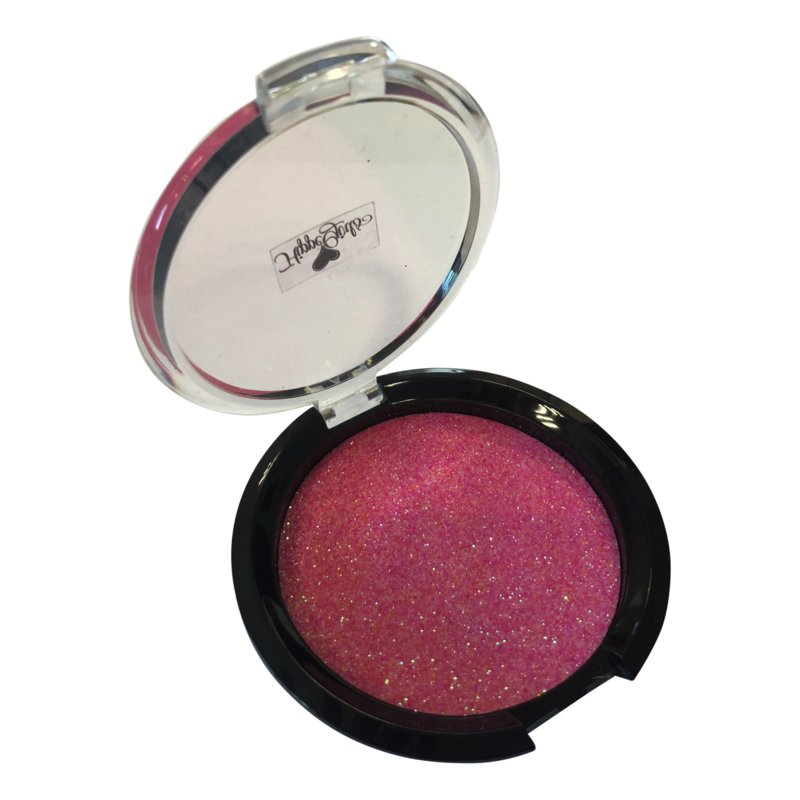 Blush Pink petals glitter met puff