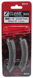 Rokuhan / Noch 97010 gebogen rails (4 stuks) R95 mm / 45º