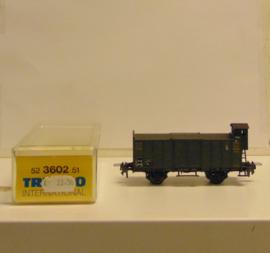 Trix 52 3602 00 : Hoge boordwagen met remmershuisje