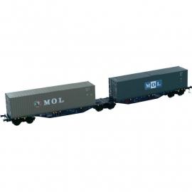 Mehano 58599 dubbele containerdraagwagon (H0)