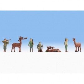 Noch 15731# Jagers en herten