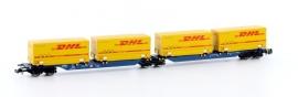 """HobbyTrain H23729  : Contrainerwagen """"DHL""""  (DB)"""