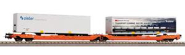 Piko 58972 Trailer laadwagen T3000e Wascosa met 2 opleggers Sieber. Periode VI