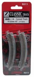 Rokuhan / Noch 97011 gebogen rails (4 stuks) R120 mm /  45º