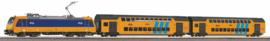 Piko 97939#Start-Set met rails met bedding. Personentrein E-Lok BR 186  met 2 dubbeldek rijtuigen