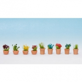 Noch 14084 # Planten in potten, 9 stuks
