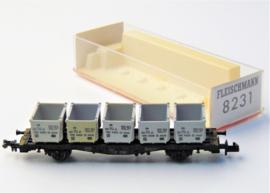 Fleischmann 8231. Containerwagen van de DB.