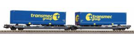"""Piko 58971. Containerwagen T300e Warcosa.  met 2 containers """"transmec"""".Ep VI"""
