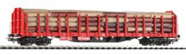 Piko 54339. Houttransportwagon beladen met echt hout Roos-t642 DB Cargo  Ep V