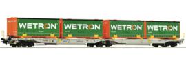 Roco 67401# Dubbele gelede containerwagen-beladen met Wetron Containers HO