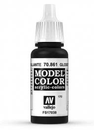 Vallejo 70.861 Glossy Black, acryl verf (17 ml)