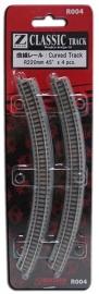 Rokuhan / Noch 97004 gebogen rails (4 stuks) R220 mm /  45º