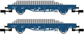 Arnold 6401-2#2-delige plattewagenset met betonnen dwarsliggers van de NS