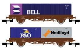 Arnold 6400-2# Set met 2 2 assige rongenwagens beladen met containers