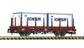 """Fleischmann 825734. Rongenwagen met 2 20"""" containers van KNSM    NS"""