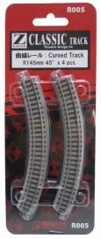 Rokuhan / Noch 97005 gebogen rails (4 stuks) R145 mm /  45º