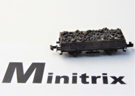 Minitrix: Open goederenwagen beladen met grind