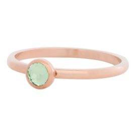 Ring Zirkonia Light Green, rosé goudkleur