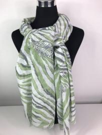 Sjaal ; zebraprint ;  groen