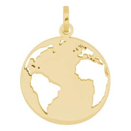 Charm wereldbol ; gold