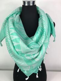 Sjaal ; blauwgroen - wit