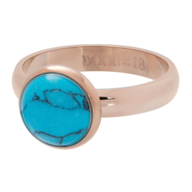 Ring 1 Stone Blue Turquoise ; Rosé-goldcolor
