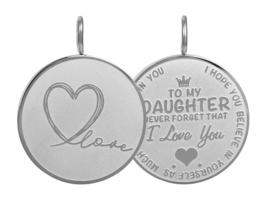 Hanger Daughter Love Big ; zilverkleurig