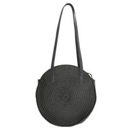Rieten tas ; zwart