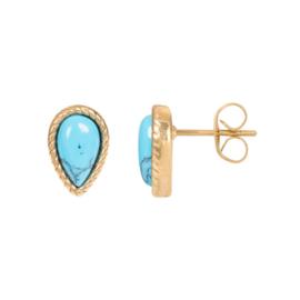 Magic Turquoise oorstekers ; goudkleurig