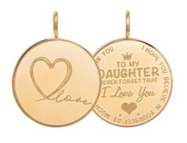 Hanger Daughter Love Big ; goudkleurig
