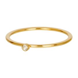 Ring blond flare 1 stone ; goudkleurig