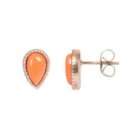 Magic Coral oorstekers ; roségoudkleurig