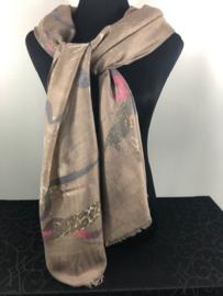 Sjaal ; Bruin met panter en bloemen