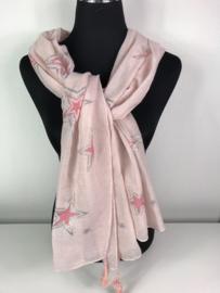 Sjaal ; licht roze met sterren