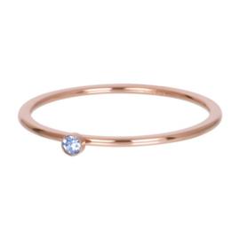Ring light sapphire 1 stone ; rosé-goudkleurig