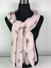 Sjaal ; roze met ananasjes