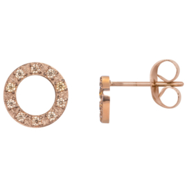 iXXXi Ear studs Circle Stone 10mm ; rosé-goudkleurig