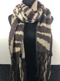 Winter sjaal ; Zebra bruin/mocca