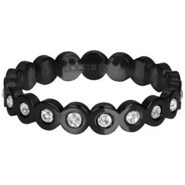 Ring Big Circle Stone ; zwart