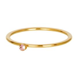 Ring pink 1 stone ; goudkleurig