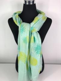 Sjaal ; groen met ananassen