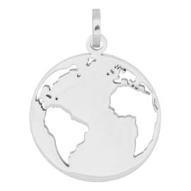 Charm wereldbol ; silver